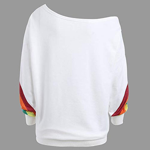 HNTDG Women Casual Long Sleeve Rainbow Printed Off The Shoulder Pullover Loose Shirts Sweatshirt Blouse
