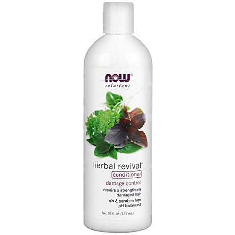 NOW Solutions, Herbal Revival, Damage Control Conditioner with Horsetail, pH Balanced, 16-Ounce