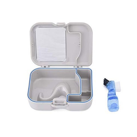 Dental Retainer Case with Mirror & Brush, Denture Bathing Box Mouth Guard Soaking Container Storage for Daily Outfit