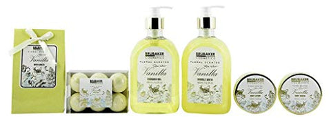 BRUBAKER Cosmetics Luxury Bath & Body Gift Set - Vanilla Rose Mint - 12 Pcs Spa Gift Set for Women and Men