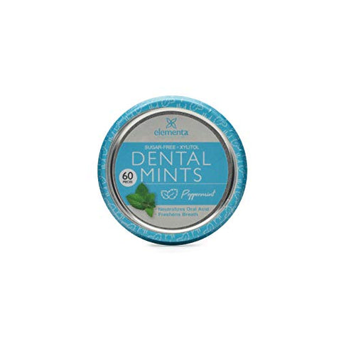 Elementa Natural Sugar Free Hard Candy Breath Mints, Low Carb with Xylitol for Improved Oral Care | Non-GMO + Vegan Friendly, Neutralizes Oral Acid, Soothes Dry Mouth | Peppermint 60 Count