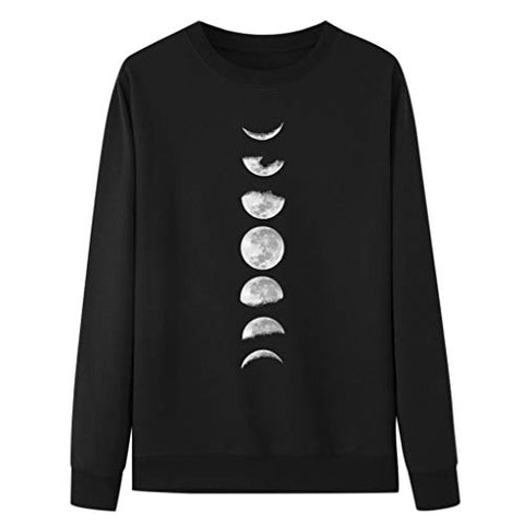 HNTDG Women Casual Long Sleeve O-Neck Moon Printed Hoodie Sweatshirt Pullover Blouse Black