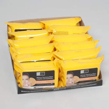 Facial Makeup Cleansing Wipes 30 count Vitamin C 4-12 pcs PDQ's, Case of 48