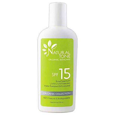 Natural Tone Organic Skincare SPF15 Broad Spectrum Natural Sunscreen 4oz