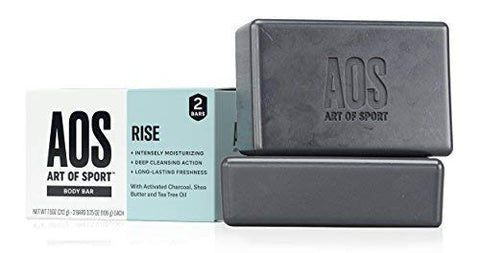 Art of Sport Body Bar Soap (2-Pack), Rise Scent, with Activated Charcoal, Tea Tree Oil, and Shea Butter, 3.75 oz