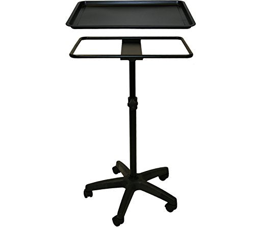 InkBed Extra Large Black Steel Single-Post Mayo Instrument Stand with Lift Out Work Tray Tattoo Salon Spa