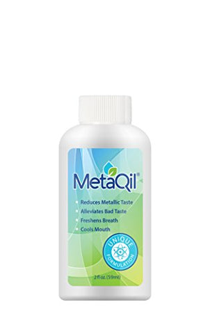 MetaQil Oral Rinse 2oz Bottle - Clinically Proven to Relieve Metallic Taste, Bitter Taste and unpleasant Taste. Cools Mouth and Freshens Breath