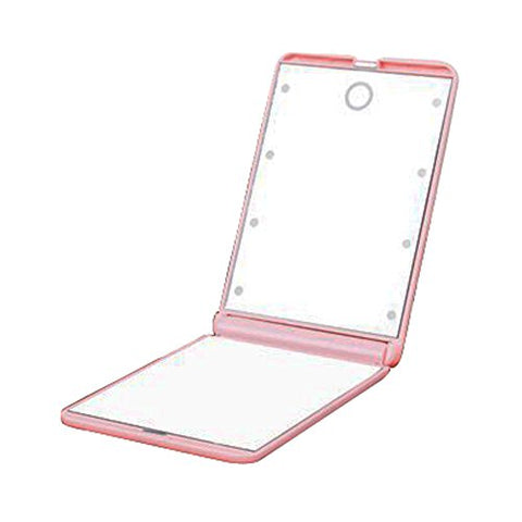Makeup Cosmetic Double-sided Mirror LED Light Portable Mirror/Magnifiers Pink