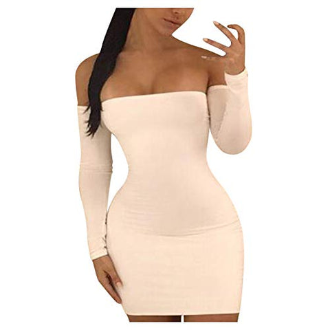 Summer Dresses for Women's Sexy Tight Slim Elegant Hollow Out Flat Shouders Dress Maxi Boho Dress White