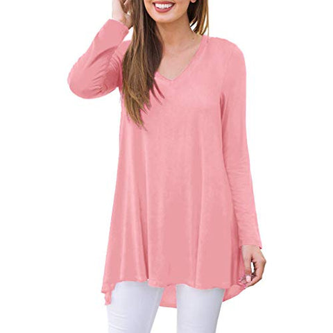 Meikosks Ladies Solid Color T Shirt V Neck Long Sleeve Pullover Loose Casual Basic Tops Pullover Pink