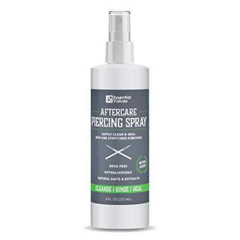 2 Pack Essential Values Piercing Aftercare Spray (8 Fl Oz Per Bottle), Made From The Finest Salts &