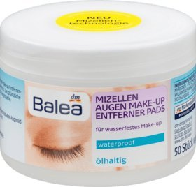 Balea Micellar Eye Makeup Remover Pads Oily, 50 Pieces - German product