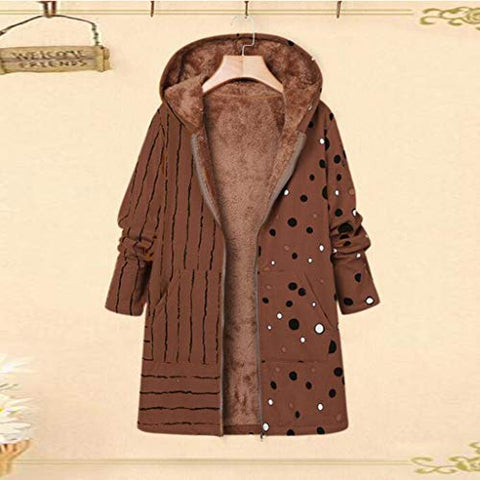 Xinantime Womens Thicker Zipper Hooded Coat Outwear Plus Size Winter Warm Printed Pockets Fleecy Outercoat(Brown,XL)