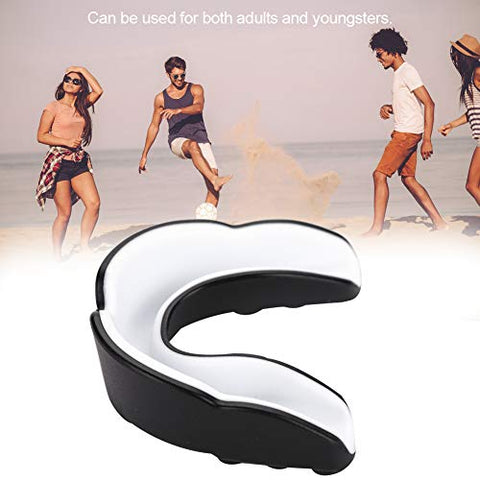 Professional Mouth Guard - Teeth Protector Gum Shield Karate Boxing Protection Tool(Adult -Black + White)