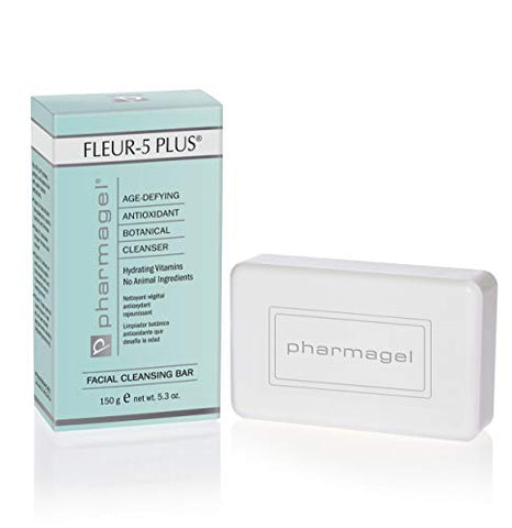 Pharmagel Fleur-5 Plus Antioxidant Gentle Cleansing Bar | Natural Daily Bath and Face Wash Soap | Deep Cleaning Soap for Sensitive Skin - 5.3 oz