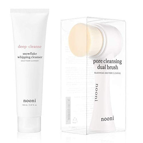 NOONI Pore Cleansing Dual Brush + Snowflake Whipping Cleanser Bundle