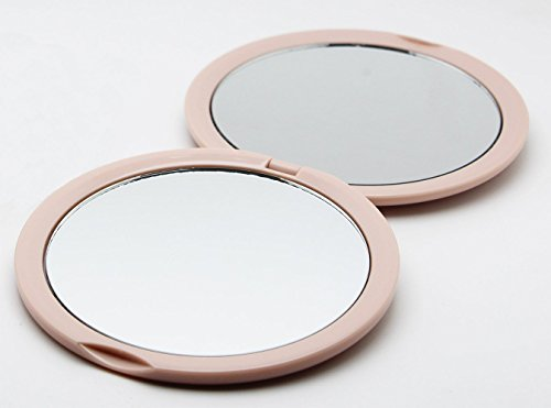 Magnifying Compact Mirror For Purses With 10 X Magnification   Pink Double Sided Travel Makeup Mirror