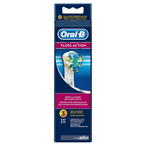 Oral B Floss Action Replacement Brush Heads Refill, 3 Count, White