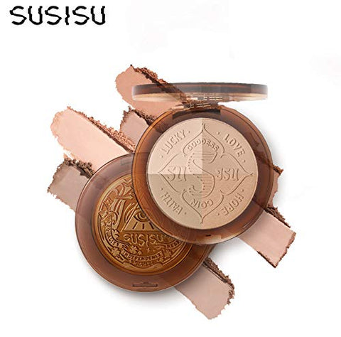 4 Colors Susisu Lucky Coin Long Lasting Multi Function Makeup Contour Pressed Powder Palette