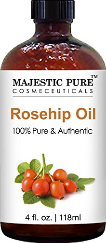 Majestic Pure Rosehip Oil For Face, Nails, Hair And Skin, Pure & Natural, Cold Pressed Premium Rose