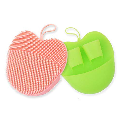 INNERNEED Silicone Facial Scrubber Face Brush Pads for Cleansing, Exfoliating, Makeup Removal Brush, Anti-Aging Face Massage, Handheld (Pink + Green)