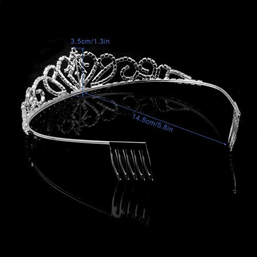 Pixnor Gorgeous Pretty Rhinestone Tiara Crown Exquisite Headband Comb Pin Wedding Bridal Birthday Ti