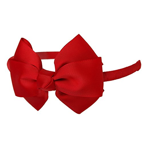 Shemay Fashion Solid Grosgrain Ribbon Hair Bows and Headbands for Toddlers Girls Kids, Red, One Size