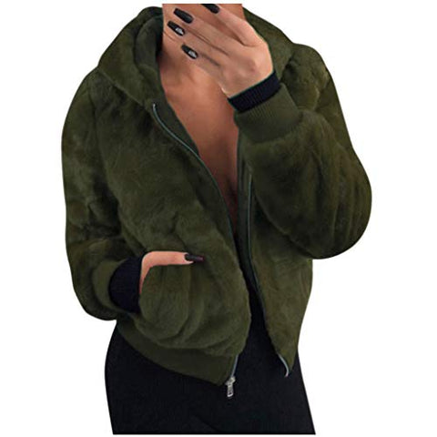 HNTDG Women's Casual Winter Warm Faux Fur Coat Fleece Hooded Zipper Long Sleelve Outercoat with Pockets Army Green