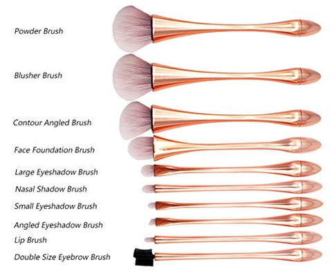 BYAMD 10 pieces Makeup Brushes Set Premium Quality Synthetic Foundation Flawless Powder Cosmetics Face Eyeshadow Brushes Kits(Rose Gold) With Makeup Sponge