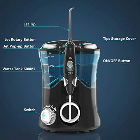 Waterproof Cordless Dental Water Jet for Shower, Water Flosser Cordless USB Rechargeable Portable, High Pulse Rechargeable Water Flossing Teeth Cleaner, Water Dental Flosser for Braces Shower Kids