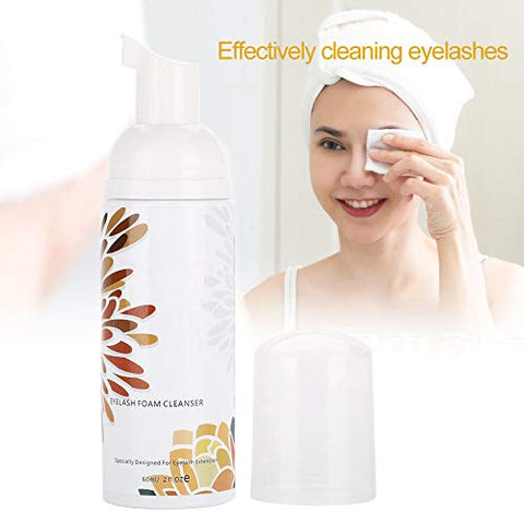 Eyelash Foaming Cleanser, 60ml Lash Shampoo for Eyelash Extensions Eye Makeup & Mascara Remover