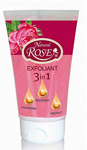 Rose Oil Face Exfoliator, 3 in1 formula, Cleansing, Protect, Recovery