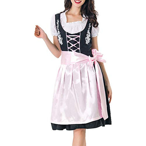 HNTDG Women Halloween Costume Maidservant Skirt Cosplay Color Block Dress Beer Festival Clothes White