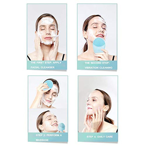 Silicone Facial Cleansing Brush,SUNSENT Portable Electric Facial Cleansing Brush,Waterproof Sonic Vibration Face Cleanser Devices for Deep Cleaning,Gentle Exfoliating & Massaging