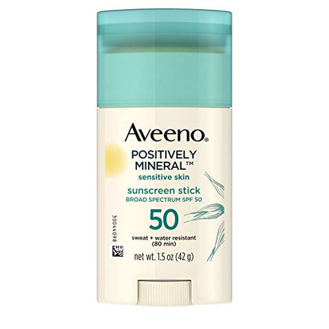 Aveeno Positively Mineral SPF 50 Sunscreen Stick for Sensitive Skin, 100% Zinc Oxide, Sweat- & Water-Resistant Face and Body Sunscreen Stick, Fragrance-Free, Travel Size, 1.5 oz
