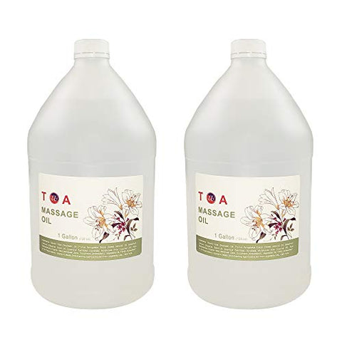 TOA Supply Soothing Hydrating Natural Body Spa Massage Oil Unscented Case of 2 Gallons