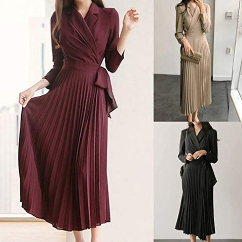 HNTDG Women Casual V-Neck Wrap Long Maxi Dress with Belt Beam Waist Big Swing Pleated Full Long Maxi Dress Black