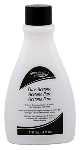 Super Nail 4 Ounce Pure Acetone Polish Remover (Clear) (118ml) (2 Pack)