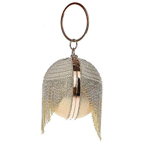 Single side Double sided Dazzling Crystal Tassel Women Evening Bag Round Wedding Cocktail Wristlets Handbag Purse (Double sided Gold)