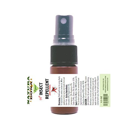 Organic Flying Insect Repellent Spray; 15ml Travel Size Bottle. Long Lasting DEET FREE Herbal Insect Repellent made from Essential Oils. Repels Mosquitoes, Flies, Gnats, Ticks, Fleas, Plus. Kid Safe