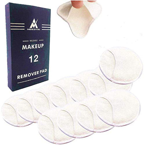 12 PCS Reusable Makeup Remover Pads with Cotton Storage Bag 4 Layers 100% Organic Bamboo Makeup Remover Pad for Face, Eyes, Lips, and Neck Eco-friendly Waste Free