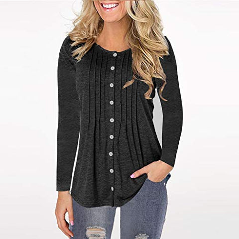 ?HebeTop? Women Long Sleeve Round Neck Sweatshirt Pocket Pullover Loose Tunic Shirts Blouse Tops (Black, M)