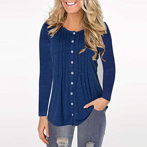 ?HebeTop? Women Long Sleeve Round Neck Sweatshirt Pocket Pullover Loose Tunic Shirts Blouse Tops (Dark Blue, L)