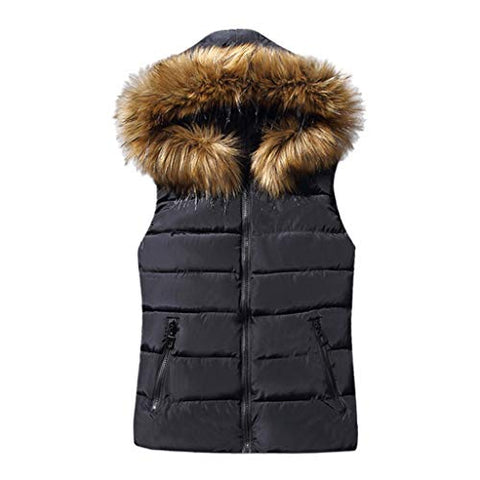 Willow S Womens Sleeveless Vest Jacket Casual Solid Color Short Zipper Fur Hooded Warm Pocket Cotton Coat Jacket Black