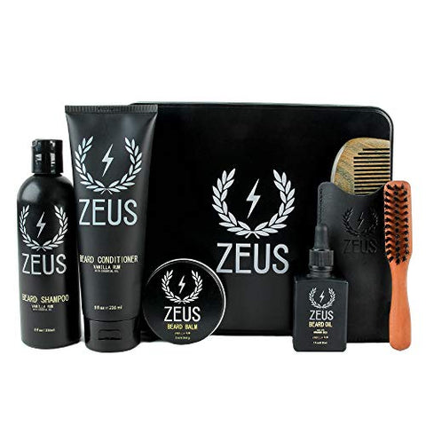 Zeus Premium Mens Grooming Set   Complete Beard Upkeep Kit   Shampoo, Conditioner, Oil, Balm, Comb,
