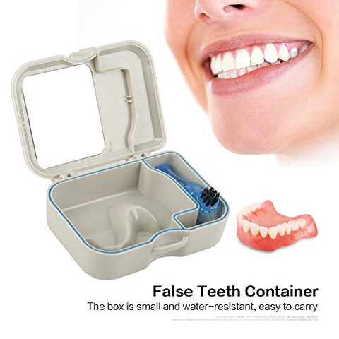 Denture Box with Mirror, Case with Mirror and Clean Brush Dental Appliance, Denture Bath Box with Brush, Denture False Teeth Storage Box, Denture Bath Case