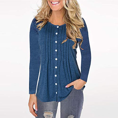 ?HebeTop? Women Long Sleeve Round Neck Sweatshirt Pocket Pullover Loose Tunic Shirts Blouse Tops (Blue, L)