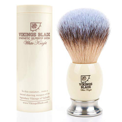 VIKINGS BLADE Luxury Shaving Brush, Heavy Weight Steel Base + Polished Faux Ivory Acrylic (White Knight)