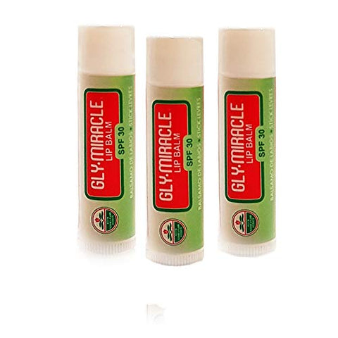 Gly Miracle Moisturizing Lip Balm Bundle of Three (3) SPF 30 Natural Elixir of Aloe Vera, Bees Wax, Coconut Oil, Lanolin, Shea Butter to help repair, protect, nourish and soften lips.