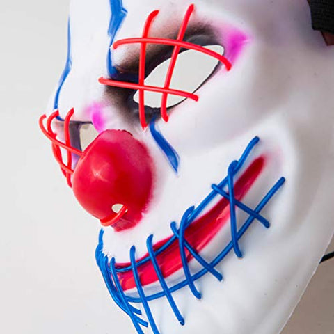 Holibanna Black Luminous Clown Face Mask Fun Halloween Masquerade Costume Party Carnival Performing Props without Battery